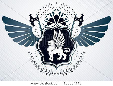 Vintage heraldry design template vector emblem created using hatchets wild lion illustration and pentagonal stars.