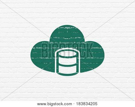 Database concept: Painted green Database With Cloud icon on White Brick wall background
