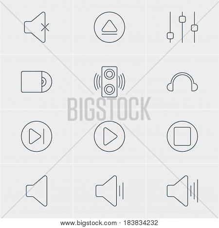 Vector Illustration Of 12 Music Icons. Editable Pack Of Audio, Speaker, Pause And Other Elements.