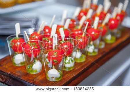 Buffet, delicious appetizing fresh food and snacks
