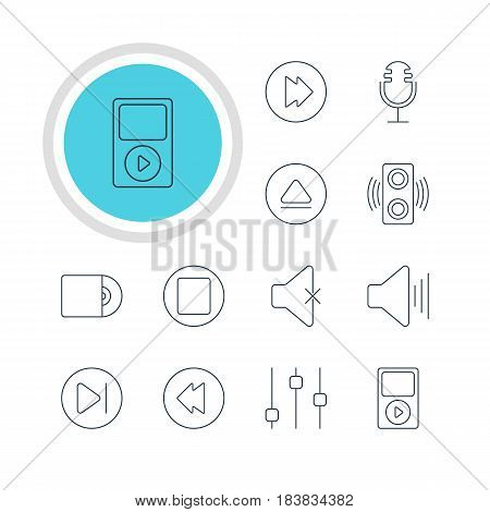 Vector Illustration Of 12 Music Icons. Editable Pack Of Soundless, Pause, Amplifier And Other Elements.