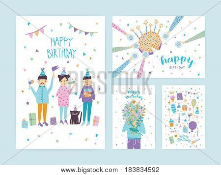 Happy birthday cards set. Collection of cartoon postcards