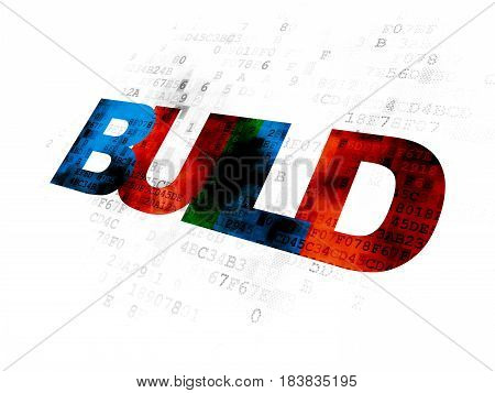 Construction concept: Pixelated multicolor text Build on Digital background