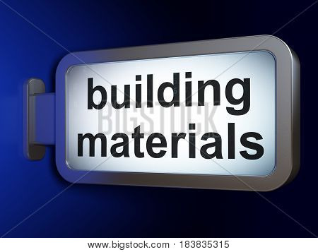 Building construction concept: Building Materials on advertising billboard background, 3D rendering