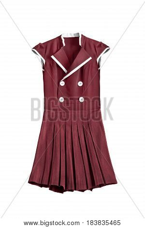 Red school uniform dress with pleated skirt on white background