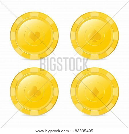 Golden Gambling Chips Set With Suits. Heart, Diamond, Spade, Club. Realistic  Chips