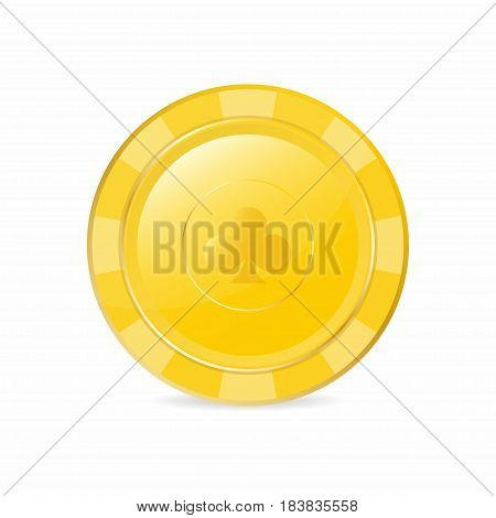 Golden Gambling Chip With Club Suit. Realistic Chip