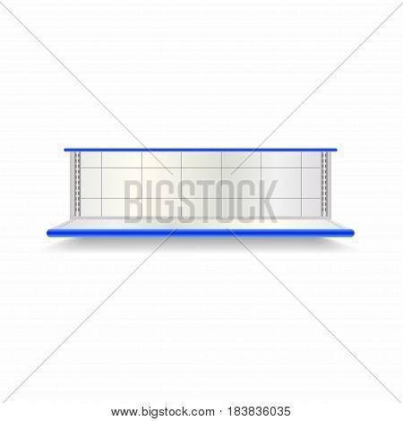 Empty Supermarket Shelf. Realistic Vector Showcase With Blue Backlight