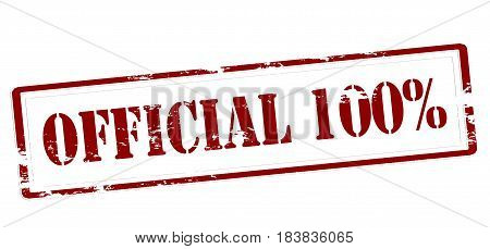 Stamp with text official one hundred percent inside vector illustration