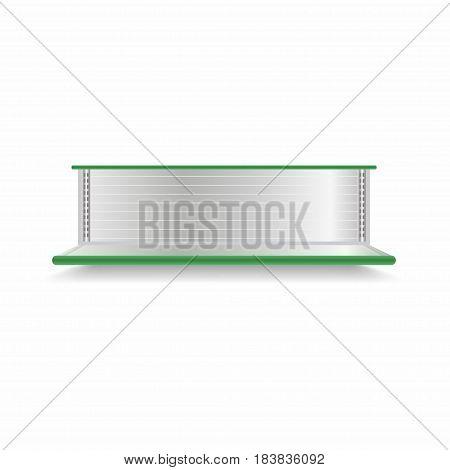 Empty Supermarket Shelf. Realistic Vector Showcase With Green Backlight