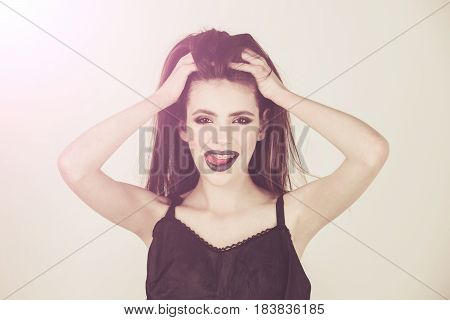 Sexy Happy Woman With Black Lips, Fashionable Makeup, Long Hair