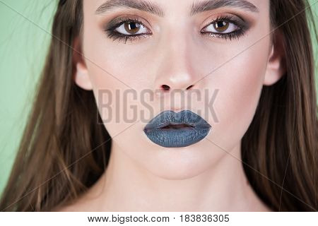 Girl With Grey Make Up And Long Hair