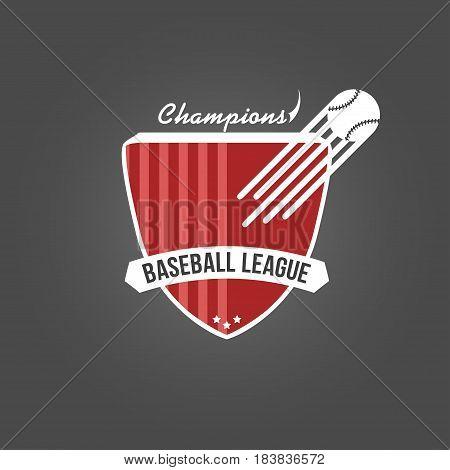 Baseball badge league logo or template for championship sport team. Vector illustration isolated on dark background