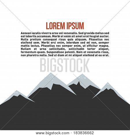 Mountain landscape. Outdoor activity symbol with grunge texture on mountain and place for inspirational text. Vector illustration