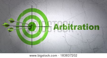 Success law concept: arrows hitting the center of target, Green Arbitration on wall background, 3D rendering