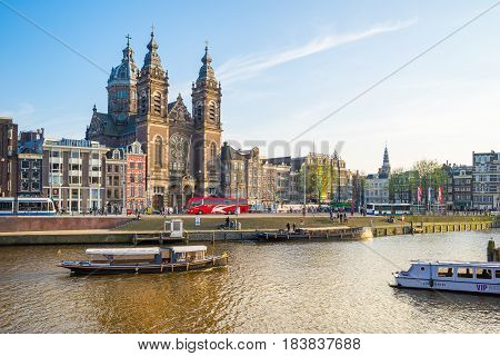 View Of Amsterdam City In Netherlands
