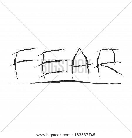 Claws scratches on transparent background.. Word Fear made with claws scratches. Vector illustration