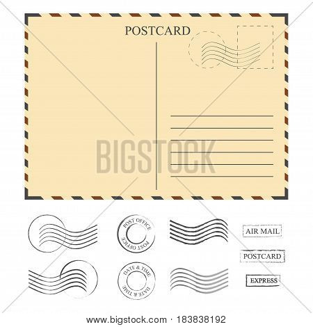 Vintage postcard with stamps template. Set of stamps. Vector illustration