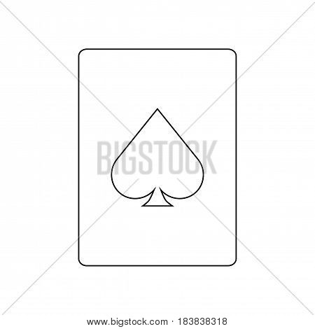 Card ace line icon. Isolated vector on white background.