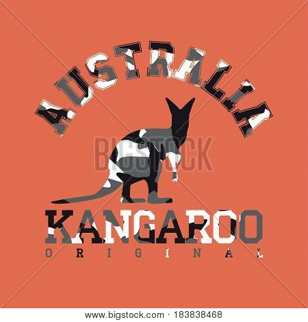 Camouflage typography for clothes with kangaroo silhouette and lettering Australia kangaroo original. Typography for t-shirt print poster banner apparel. Vector print for sportswear
