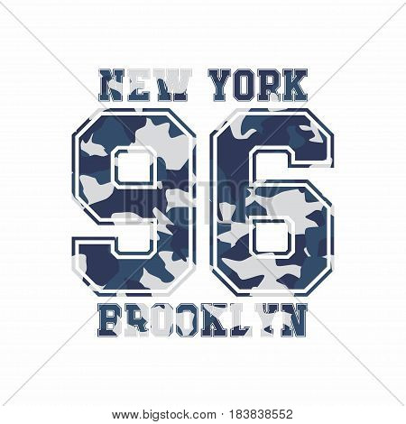 Camouflage typography for clothes with lettering New York Brooklyn 96. Typography for t-shirt print poster banner apparel. Vector print for sportswear