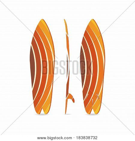 Classic surfboard. Three-sided surfboard illustration. Three projections. Colorful circular fish board. Surfers equipment. Vector illustration for t-shirt print poster banner for surfers clothes