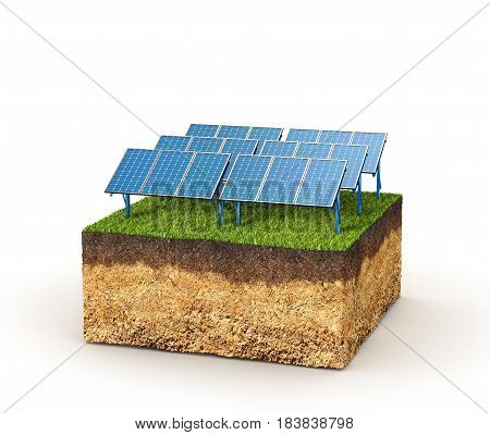 Energy concept. Cross section of ground with solar panels. 3d illustration