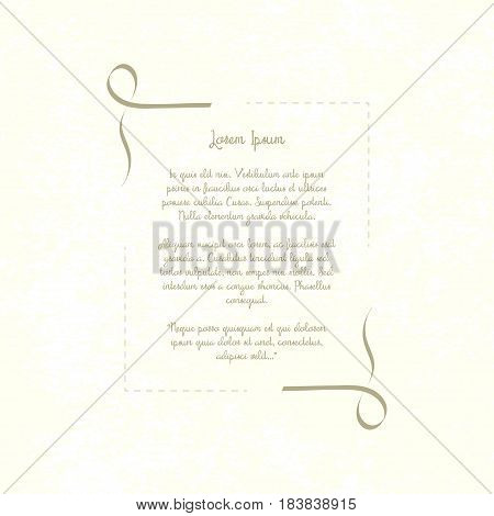 Vintage decorative frame. Retro template place for text poem invitation restaurant menu quotes. Shabby paper background. Vector