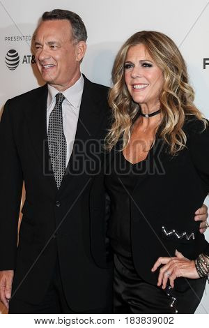NEW YORK, NY - APRIL 26: Rita Wilson and Tom Hanks attend 'The Circle' premiere during the 2017 Tribeca Film Festival at BMCC Tribeca PAC on April 26, 2017 in New York City.