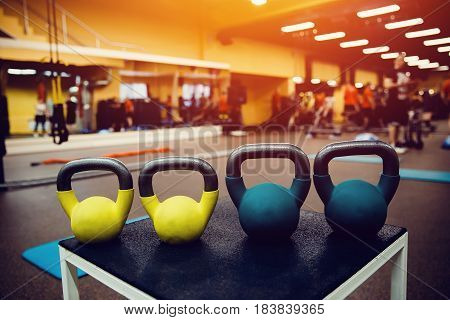 set of weights and a dumbbell for sporting fitness in the gym. Sports Equipment.high contrast and monochrome color tone.