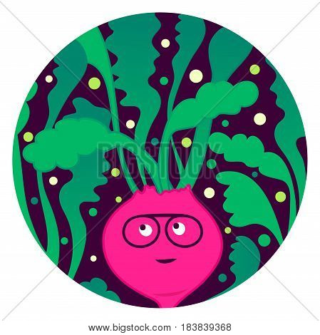 Beetroot Beat. Funny beet character with afro hairstyle. Ready for cards posters clothes prints etc.
