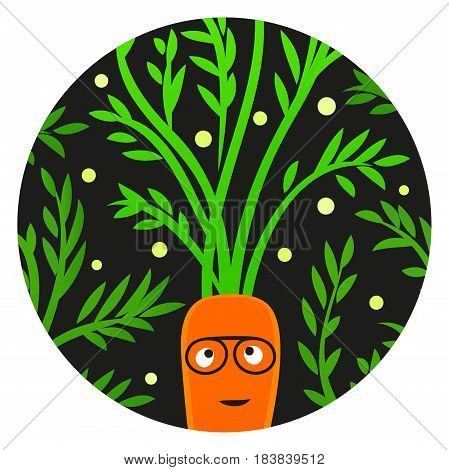Reggae Veggie. Funny carrot character with afro hairstyle. Ready for cards posters clothes prints etc.