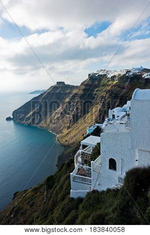 Caldera view from Fira to Imerovigli at Santorini island, Greece
