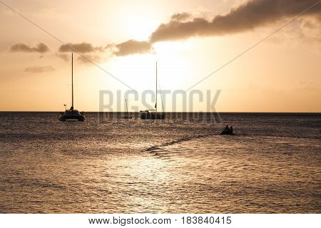 Travels on the Caribbean Sea at Sunset in Dominica