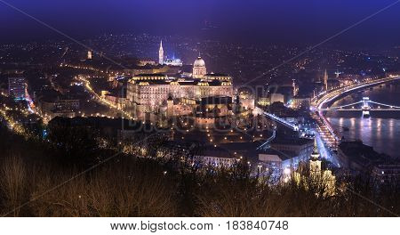 Night panorama of Budapest with Buda Castle, popular architecture landmark of the Hungarian capital, Hungary