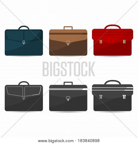 Briefcases set with shadows. Coloful and monochrome icons of bag suitcase briefcase. Vector