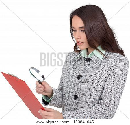 Detective Woman Reading a Document on Clipboard Through a Magnifying Glass - Isolated