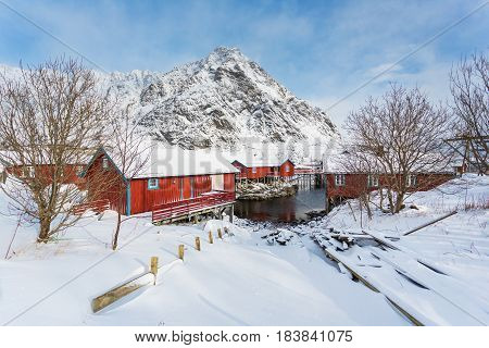 The red cabins of the fishing village A in the Lofoten islands winter time