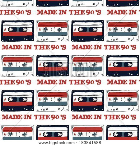 Seamless pattern with audio tape and inscription: Made in the 90s.