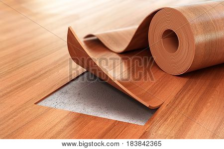 Linoleum coating. Flooring Installation. 3d illustration .