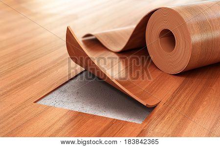 Linoleum coating. Flooring Installation. 3d illustration .