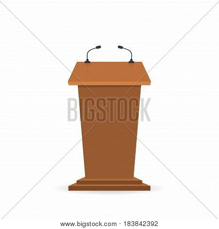 Wooden Podium Tribune Stand Rostrum With Microphones. Front View From Reporters Side. Vector Illustr