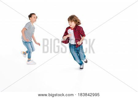 Funny kids playing in play catch-up isolated on white gaming characters concept