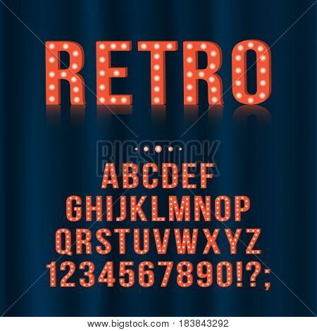 Retro vintage light bulb alphabet letters and numbers for signboards movie theatre casino. Vector english alphabet