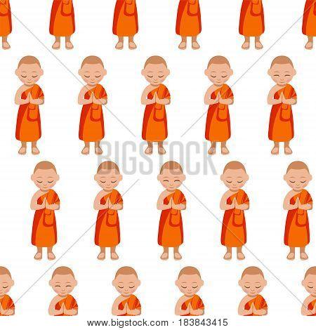 Seamless Pattern - Buddhist Monk Boy Praying