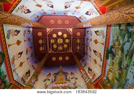 Loei Thailand - March 19 : Art Thai Mural mythology buddhist religion on wall at Wat Sri sudha was in Loei provinceThailand . Photography on March 19 2017
