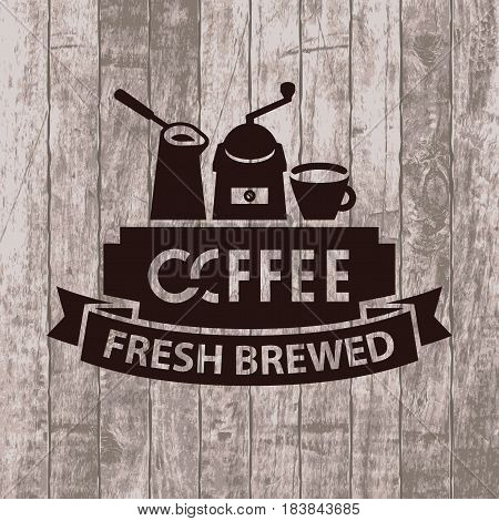 template vector banner with cezve grinder and cup of coffee on wooden background with text fresh brewed coffee