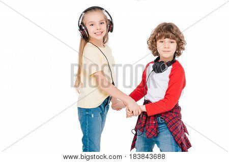 Kids In Headphone Listening Music