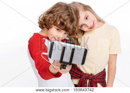 Kids Taking Selfie With Smartphone