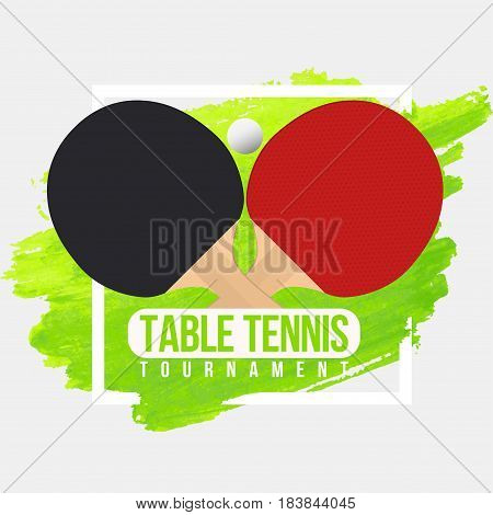Table Tennis Tournament Badge Design. Ping Pong Championship. Vector